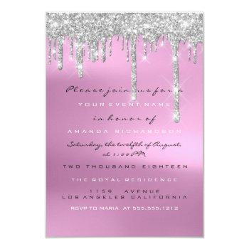 gray glitter drips silver pink bridal sweet 16th invitation