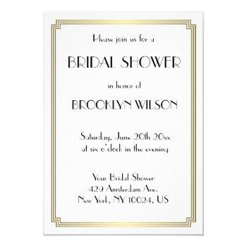 great gatsby art deco gold bridal shower invites