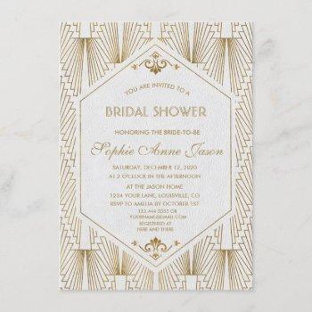 great gatsby art deco gold white bridal shower invitation