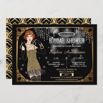 great gatsby bridal shower invitation flapper