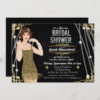 great gatsby flapper bridal shower invitation