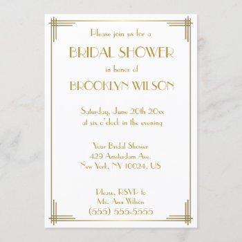 great gatsby gold art deco bridal shower invites