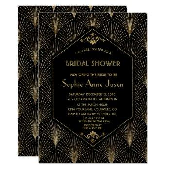 great gatsby vintage art deco bridal shower invite