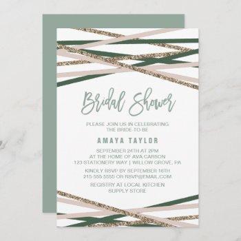 green and blush streamers bridal shower invitation