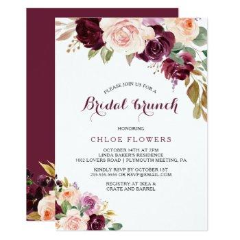 green blush burgundy floral bridal brunch invitation