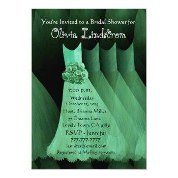 green bridesmaid dresses bridal shower invitation