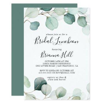 green eucalyptus bridal luncheon bridal shower invitation