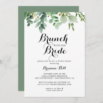 green eucalyptus brunch with the bride shower invitation