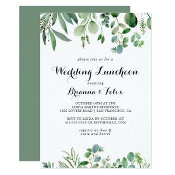 green eucalyptus wedding luncheon bridal shower invitation