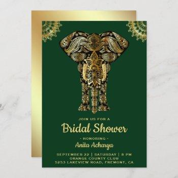 green gold elephant indian bridal shower invite