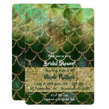 green & gold mermaid scales glam bridal shower invitation