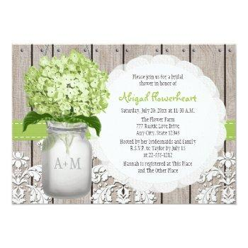 green hydrangea monogram mason jar bridal shower invitation