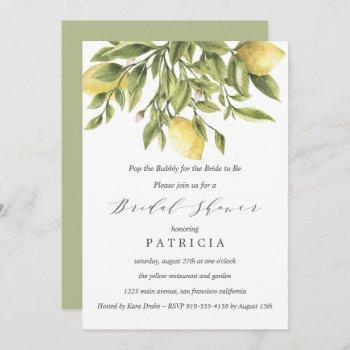 green | lemons and foliage wedding bridal shower invitation