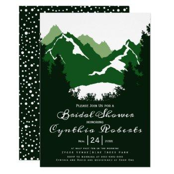 green mountains and conifers wedding bridal shower invitation