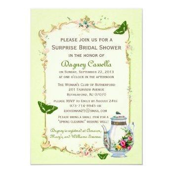 green vintage french bridal tea party invitation