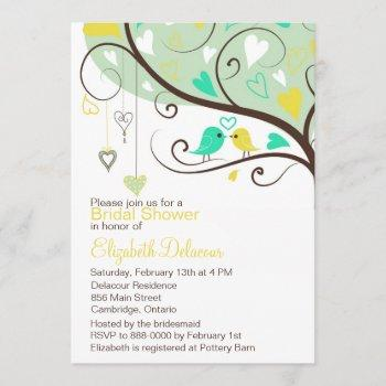 green & yellow love birds bridal shower invitation