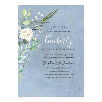 greenery and dusty blue elegant bridal shower invitation
