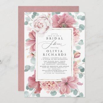 greenery and dusty rose floral bridal shower invitation