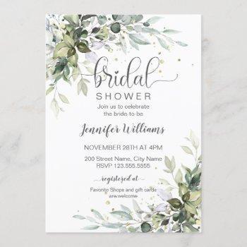 greenery and eucalyptus bridal shower invitation