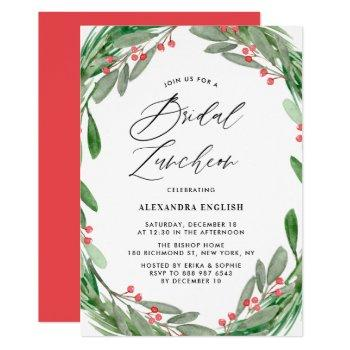greenery and holly wreath winter bridal luncheon invitation