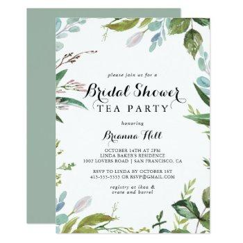 greenery calligraphy bridal shower tea party invitation