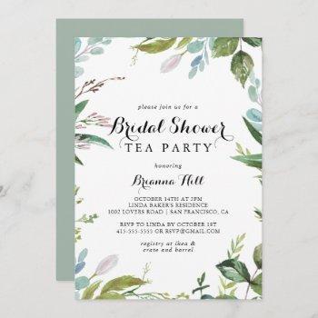 greenery calligraphy bridal shower tea party invitation