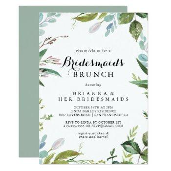 greenery calligraphy bridesmaids brunch shower invitation
