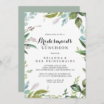 greenery calligraphy bridesmaids luncheon shower invitation