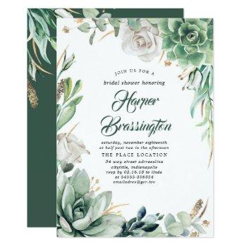 greenery   elegant country garden bridal shower invitation