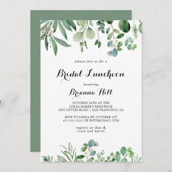 greenery eucalyptus bridal luncheon bridal shower invitation