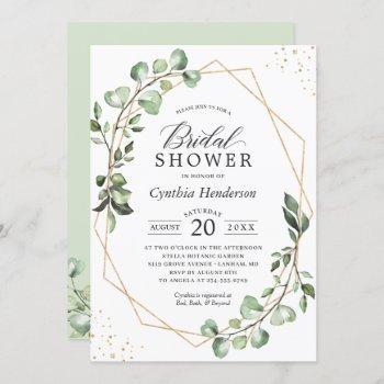 greenery eucalyptus gold geometric bridal shower invitation