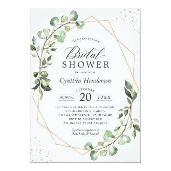 Greenery Eucalyptus Gold Geometric Bridal Shower Invitation Front View