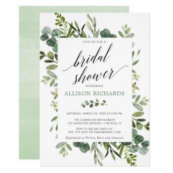 greenery eucalyptus modern bridal shower invitation