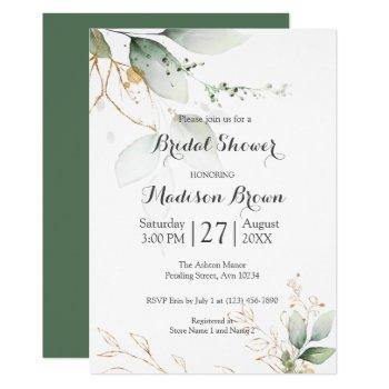 greenery floral gold foil leaves bridal shower invitation