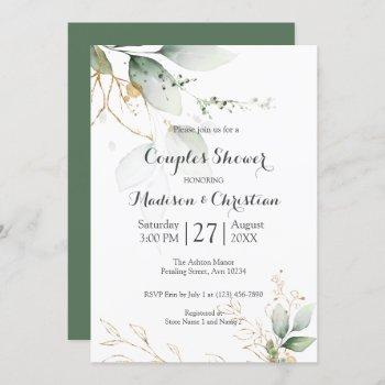 greenery floral gold foil leaves couples shower invitation