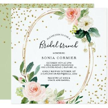 greenery & gold geometric elegant bridal brunch invitation