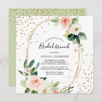 greenery & gold geometric elegant bridal brunch invitation