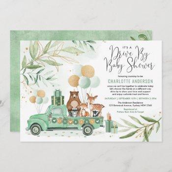 greenery gold woodland drive through baby shower invitation