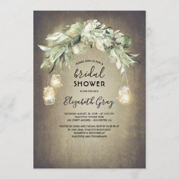 greenery mason jar lights rustic bridal shower invitation