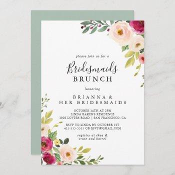 greenery pink blush bridesmaids brunch shower invitation