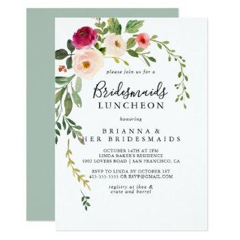 greenery pink blush bridesmaids luncheon shower invitation