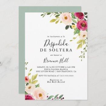 greenery pink blush floral spanish bridal shower invitation