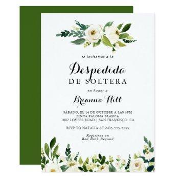 greenery white autumn floral spanish bridal shower invitation