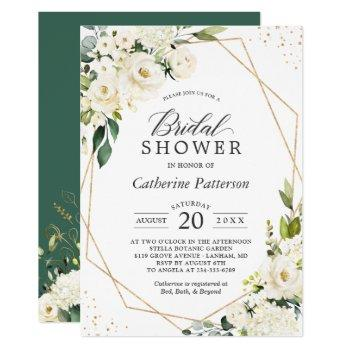 greenery white floral gold geometric bridal shower invitation