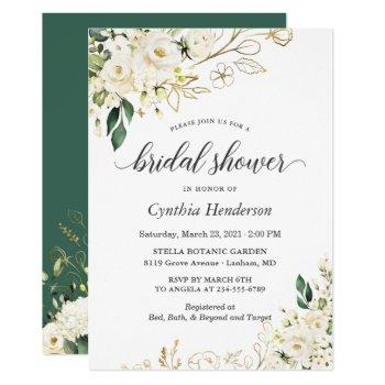 greenery white rose floral gold bridal shower invitation