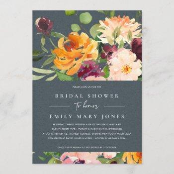 grey blush yellow orange floral bridal shower invitation