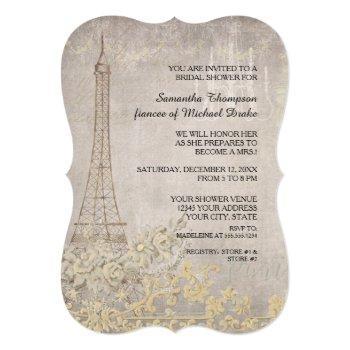 grey vintage paris parisian stylish bridal shower invitation