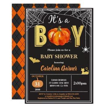 halloween baby boy shower invitation. black gold invitation