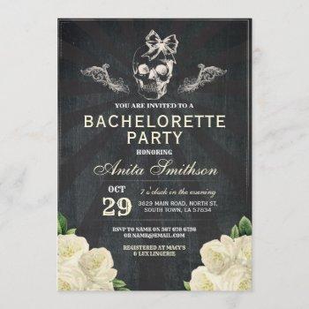 halloween bachelorette party roses flowers invite