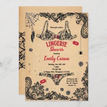 halloween lingerie shower black red witch party invitation